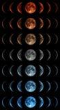 Fasi della luna sopra il cielo notturno con le stelle Fotografie Stock Libere da Diritti