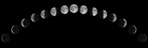 Fasi della luna sopra il cielo notturno con le stelle Ciclo lunare della luna immagini stock