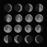 Fasi delle icone della luna messe Vettore illustrazione di stock