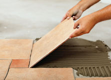 Fasi di installazione delle piastrelle per pavimento ceramiche - disporre le mattonelle Immagine Stock
