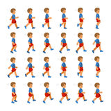 Fasi di ragazzo dei movimenti di punto nella sequenza di camminata per l'animazione del gioco Immagine Stock