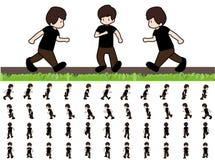 Fasi di uomo dei movimenti di punto nella sequenza della passeggiata di funzionamento per l'animazione del gioco Immagine Stock