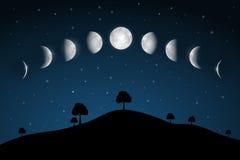 Fasi lunari - paesaggio di notte Fotografia Stock Libera da Diritti