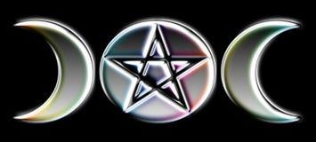 Fasi pagane della luna - argento) O ( Immagini Stock