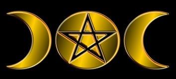 Fasi pagane della luna - oro) O ( Fotografie Stock