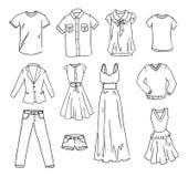 Fasihon clothes hand drawn vector set Royalty Free Stock Photos