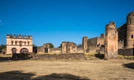 Fasil Ghebbi is the remains of a fortress-city within Gondar, Ethiopia. Fasil Ghebbi Royal Enclosure is the remains of a fortress-city within Gondar, Ethiopia stock photo