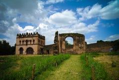Fasilidaspaleis en Bibliotheek in de plaats van Fasil Ghebbi, Gonder, Ethiopië stock foto's