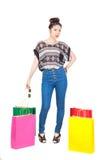 Fasion покупок женщины белый бакборт Стоковое фото RF