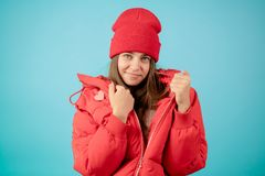 Fasion concept. jacket for sale. stylish woman in red sport jacket. stock photos