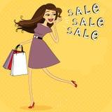 Fasion försäljningsflicka Royaltyfria Bilder