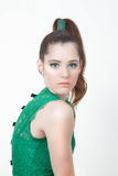 Fashion model in green Royalty Free Stock Images