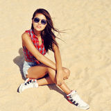 Fasion portrait of stylish young woman Stock Photos