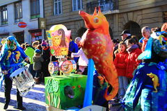 2015 Fasnacht Festival, Basel. Fasnacht Festival in Basel, People play with Waggis Mask. It is from 23rd to 25th of February stock image
