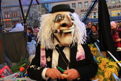 2015 Fasnacht Festival, Basel. Fasnacht Festival in Basel, People play with Waggis Mask. It is from 23 to 25 of February royalty free stock photography