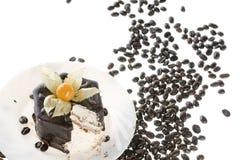 fasola ciasta czekoladowego łańcucha rozlewać kawy Obrazy Royalty Free