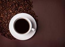 Fasole i filiżanka kawy Zdjęcie Royalty Free