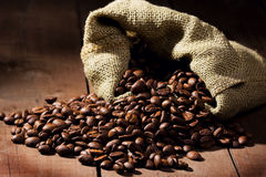 fasoli brezentowy kawy worek Zdjęcie Stock