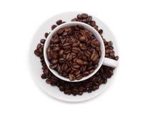 fasoli coffe filiżanka wypełniający biel Zdjęcie Royalty Free