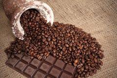 fasoli czekolady kawa Obraz Royalty Free