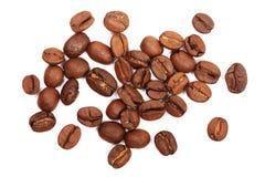 fasoli kawa białe tło Odgórny widok Zdjęcie Stock