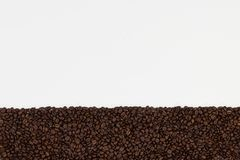 fasoli kawa białe tło Odgórny widok z przestrzenią dla twój t Fotografia Royalty Free