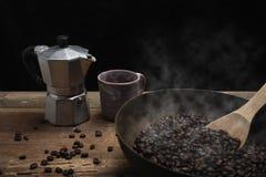 fasoli kawa piec łyżkowy drewniany Obraz Stock