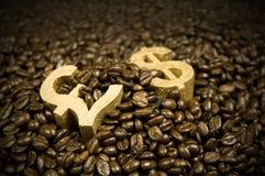 fasoli kawowy dolarowy złota funt Zdjęcie Royalty Free