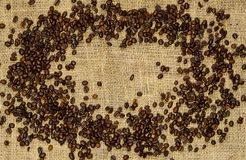 fasoli kawowy jute worek kosmos kopii z bliska Mieszkanie nieatutowy obrazy royalty free