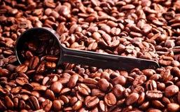 fasoli kawy pomiarowa łyżka Fotografia Royalty Free
