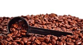 fasoli kawy pomiarowa łyżka Zdjęcia Royalty Free