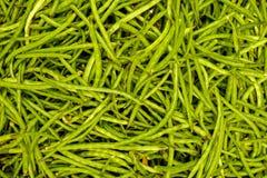 Fasolki szparagowe zamykają w górę odgórnego widoku knedle tła jedzenie mięsa bardzo wiele Zdjęcia Stock