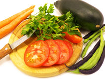 Fasolki szparagowej oberżyny pomarańcze świeża marchewka Obraz Stock