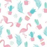 Fasonuje bezszwowego wzór dla tekstylnego druku z kaktusem, ananasem, palma liśćmi i flamingiem, modny lato projekta wektor ilustracji