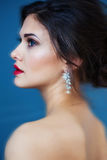 Fasonuje fotografię piękna dama w eleganckiej wieczór sukni Zdjęcie Royalty Free