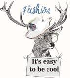 Fasonuje ilustrację z eleganckim modnym rogaczem w szkłach i kapeluszu ilustracja wektor
