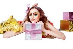 Fasonuje kobiety z jaskrawy makijażem Zdjęcia Stock