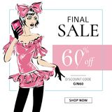 Fasonuje lato sprzedaży sztandar z nastoletnią mody dziewczyną, online zakupy reklam sieci ogólnospołeczny medialny szablon z pię Obraz Stock
