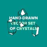 Fasonuje Pociągany ręcznie set kryształy i geometryczni kamienie Zdjęcie Stock
