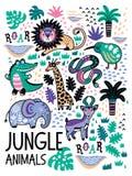 Fasonuje safari bezszwowego wzór z dżungli zwierzętami w wektorze Zdjęcia Stock