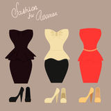 Fasonuje set eleganckie suknie z butami dla royalty ilustracja