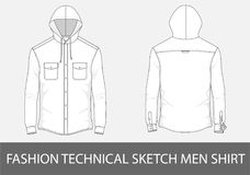 Fasonuje technicznych nakreślenie mężczyzna koszulowych z kapiszonem w wektorze Obrazy Royalty Free