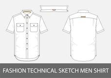 Fasonuje technicznych nakreślenie mężczyzna koszulowych z krótkimi rękawami w wektorze Obraz Stock
