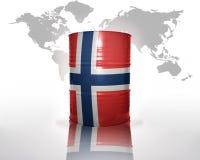Fass mit norwegischer Flagge Lizenzfreies Stockfoto