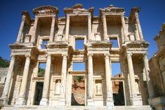 Fassade der alten Celsiusbibliothek in Ephesus, die Türkei Lizenzfreies Stockfoto