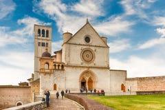 Fassade der Basilika des Heiligen Franziskus von Assisi, Italien Stockbild