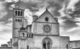 Fassade der Basilika des Heiligen Franziskus von Assisi, Italien Lizenzfreies Stockbild