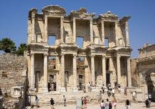 Fassade der Bibliothek von Celsus, Ephesus Lizenzfreies Stockfoto