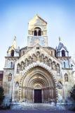 Fassade der Kapelle, Vajdahunyad-Schloss im Stadt-Park von Budapest, Ungarn lizenzfreies stockbild