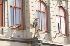 Fassade des Gebäudes in der Art Art Nouveau Riga, Lettland stockfoto